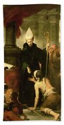 St. Thomas Of Villanueva Distributing Alms, 1678 Oil On Canvas Beach Towel