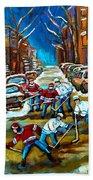 St Urbain Street Boys Playing Hockey Beach Towel by Carole Spandau