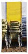 Stacks Of Chairs And Tables Beach Towel by Carlos Caetano