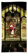 Stain Glass Behold I Stand At The Door And Knock Beach Towel