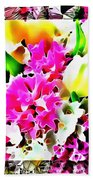 Stain Glass Framed Florals Beach Towel