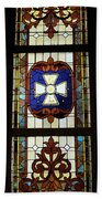 Stained Glass 3 Panel Vertical Composite 01 Beach Towel by Thomas Woolworth
