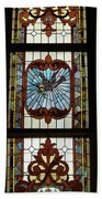 Stained Glass 3 Panel Vertical Composite 05 Beach Towel by Thomas Woolworth