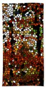 Stained Glass Autumn Colors In The Forest  Beach Towel