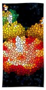 Stained Glass Candle 1 Beach Towel