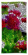 Stained Glass Chrysanthemum Flowers Beach Towel