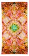 Stained Glass Mandala Beach Towel