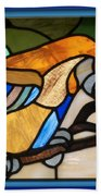 Stained Glass Parrot Window Beach Towel by Thomas Woolworth