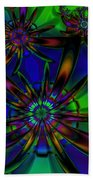 Stained Glass Passion Flowers Beach Towel