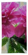 Stained Glass Peonies Beach Towel