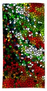 Stained Glass Pine Tree Beach Towel
