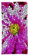 Stained Glass Pink Chrysanthemum Flower Beach Towel