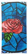 Stained Glass Roses Beach Towel