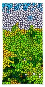 Stained Glass Sunflowers Beach Towel