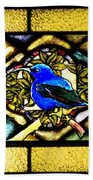Stained Glass Template Blue Bird Of Happiness Beach Towel