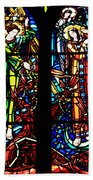 Stained Glass Window At Mont  Le Saint-michel Beach Towel