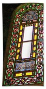 Stained Glass Window In Saint Sophia's In Istanbul-turkey  Beach Towel