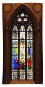Stained Glass Windows At Saint Josephs Cathedral Buffalo New York Beach Towel