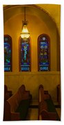 Stained Glass Windows At St Sophia Beach Towel