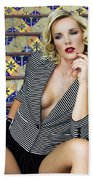 Stairs And Stripes Palm Springs Beach Towel
