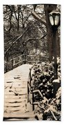 Stairway In Central Park On A Stormy Day Beach Towel