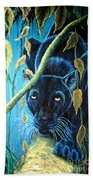 Stalking Black Panther Beach Towel