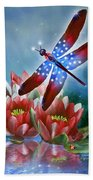 Star Spangled Dragonfly Beach Towel