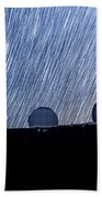 Star Trails Above Keck Beach Towel