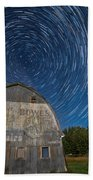 Star Trails Over Barn Beach Towel