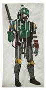 Star Wars Inspired Boba Fett Typography Artwork Beach Towel