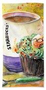 Starbucks Mug And Easter Cupcake Beach Towel