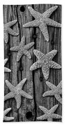 Starfish On Old Wood Black And White Beach Towel