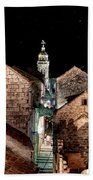 Starry Night Above The Rooftops Of Korcula Beach Towel