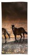 Starry Night Beach Horses Beach Towel