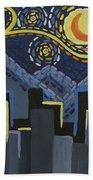 Starry Night Cityscape Beach Towel
