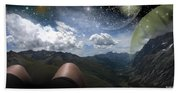 Stars And Planets In A Valley Beach Towel