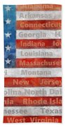 Stars And Stripes With States Beach Towel