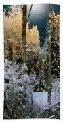 Starshine On A Snowy Wood Beach Towel