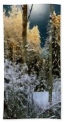 Starshine On A Snowy Wood Beach Sheet