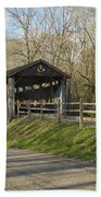 State Line Or Bebb Park Covered Bridge Beach Towel by Jack R Perry