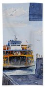 Staten Island Ferry Docking Beach Towel