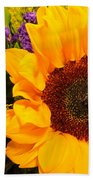Statice And Sunflower Beach Towel