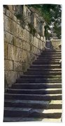 Statue And Stairs Beach Towel
