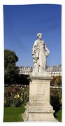 Statue At The Jardin Des Tuileries In Paris France Beach Towel