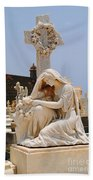 Statue Mourning Woman Beach Towel