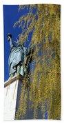 statue of liberty in Paris Beach Towel
