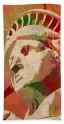 Statue Of Liberty Watercolor Portrait No 1 Beach Towel