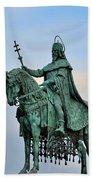 Statue Of St Stephen Hungary King Beach Towel
