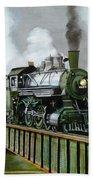 Steam Engine Locomotive Beach Towel
