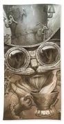 Steampunk Cat Beach Towel